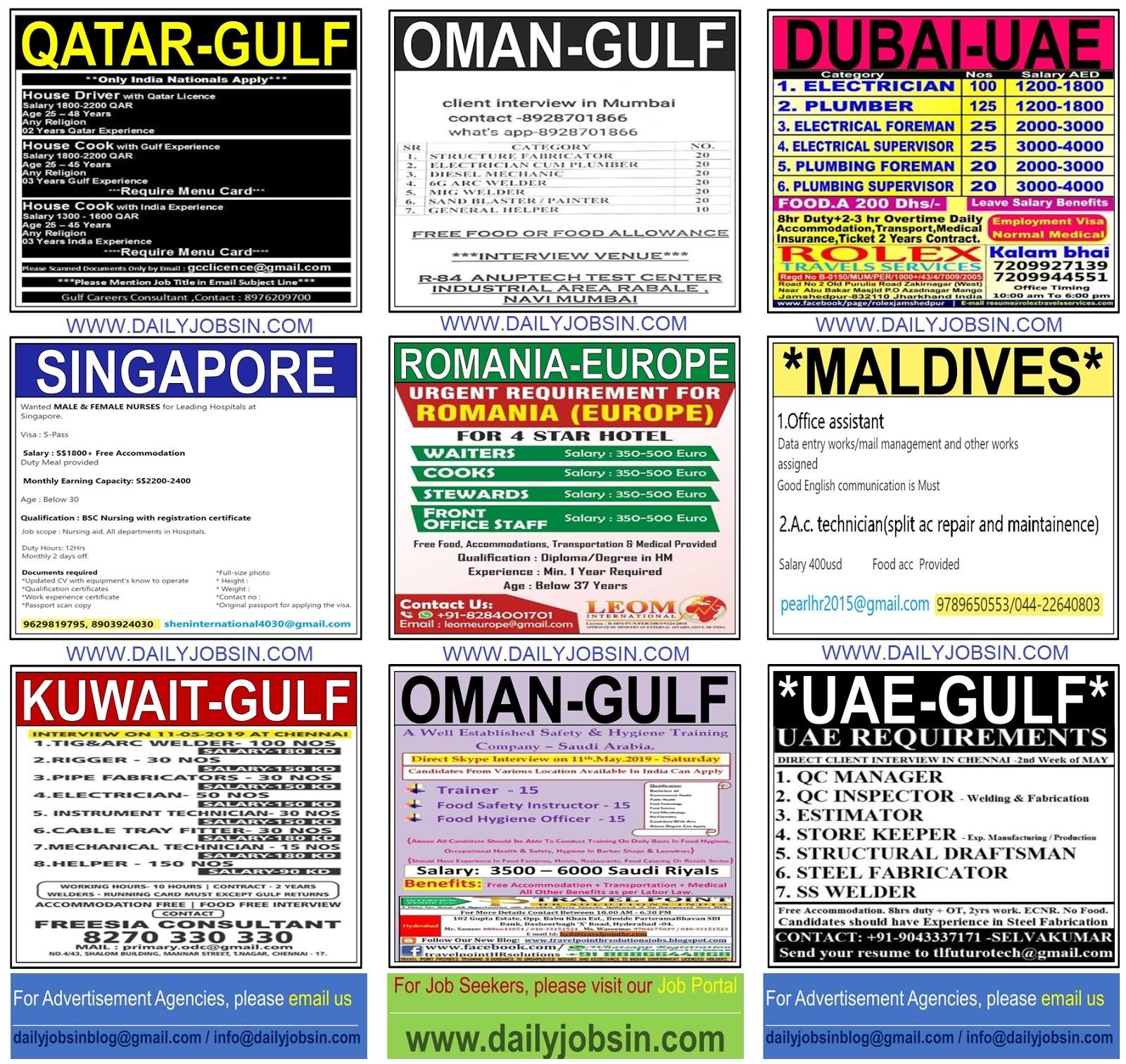 Jobs In Romania Maldives Singapore Gulf Countries